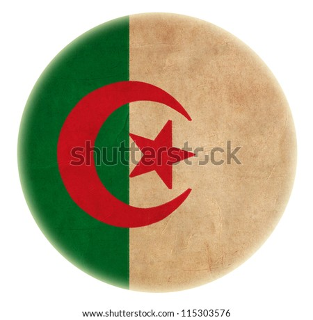 grunge Algeria flag drawing button - stock photo