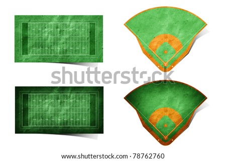 Grunge american football and baseball field recycled paper craft stick on white background - stock photo