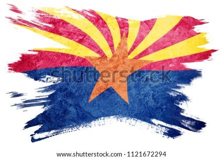Grunge Arizona state flag. Arizona flag brush stroke.