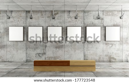 Grunge art gallery with canvas on concrete panel and wooden  contemporary bench- rendering