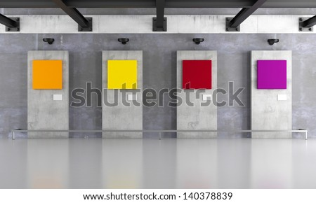 Grunge art gallery with colorful canvas on concrete panel - rendering