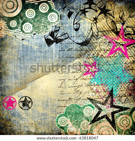 grunge art - vintage paper with graffiti elements - stock photo