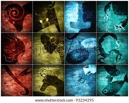 grunge art zodiac sign - stock photo
