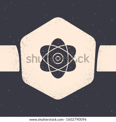 Grunge Atom icon isolated on grey background. Symbol of science, education, nuclear physics, scientific research. Electrons and protons sign. Monochrome vintage drawing.