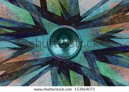 Grunge audio speaker explosion background