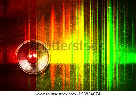 Grunge audio speaker with colourful sound waves