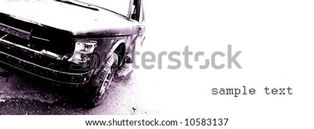Grunge automobile, old, wrecked vehicle,