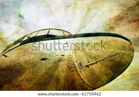 Grunge aviation background, old military plane, dirty scratched background