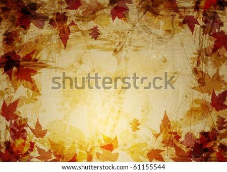 grunge background, autumn leaves on texture