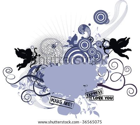 Grunge background for Valentine's day. Raster version of vector illustration. #36565075