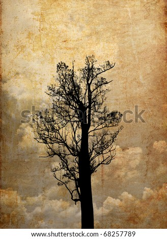 Grunge background of silhouette tree