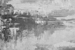 Grunge background. Oil painting. Mud texture. Fragment of artwork. Black and white background