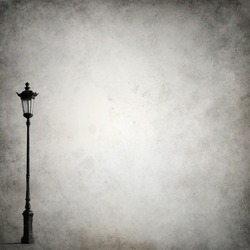 Grunge background template with old-fashioned street light