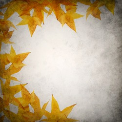 Grunge background template with yellow orange autumn leaves