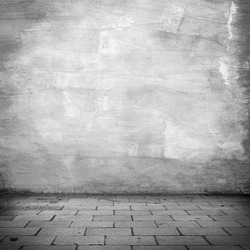 grunge background, white plaster wall texture gray sidewalk abandoned warehouse exterior urban background for your concept or project