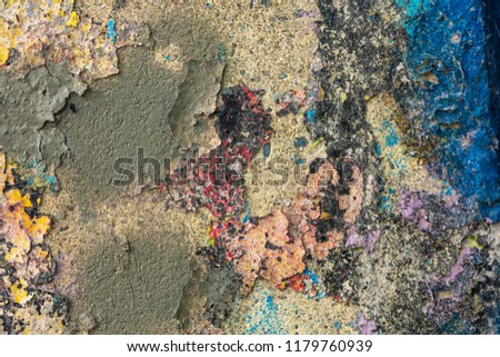 Grunge background with abstract colored texture. Old scratches, stain, paint splats, spots. #1179760939