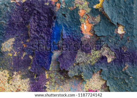 Grunge background with abstract colored texture. Old scratches, stain, paint splats, spots. #1187724142