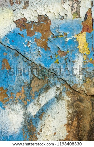 Grunge background with abstract colored texture. Old scratches, stain, paint splats, spots. #1198408330