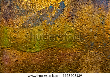 Grunge background with abstract colored texture. Old scratches, stain, paint splats, spots. #1198408339