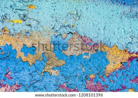Grunge background with abstract colored texture. Old scratches, stain, paint splats, spots. #1208101396