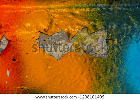 Grunge background with abstract colored texture. Old scratches, stain, paint splats, spots. #1208101405