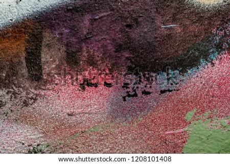 Grunge background with abstract colored texture. Old scratches, stain, paint splats, spots. #1208101408