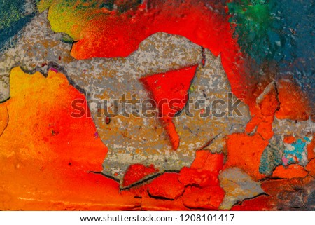 Grunge background with abstract colored texture. Old scratches, stain, paint splats, spots. #1208101417