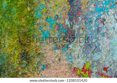 Grunge background with abstract colored texture. Old scratches, stain, paint splats, spots. #1208101420
