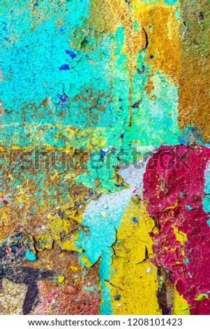 Grunge background with abstract colored texture. Old scratches, stain, paint splats, spots. #1208101423