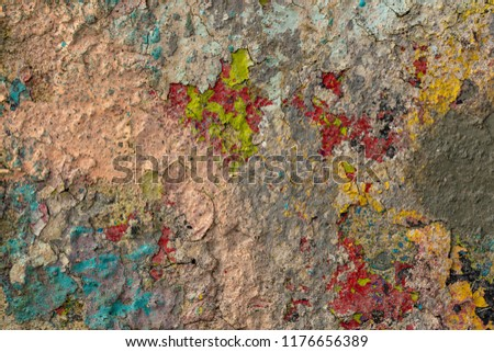 Grunge background with abstract colored texture. Old vintage scratches, stain, paint splats, spots. #1176656389