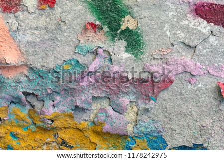 Grunge background with abstract colored texture. Old vintage scratches, stain, paint splats, spots. #1178242975