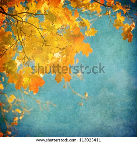 grunge background with autumn...