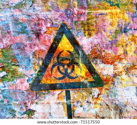 Grunge background with bio hazard sign