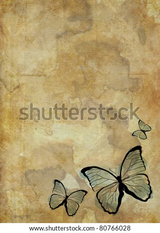 grunge background with butterflies