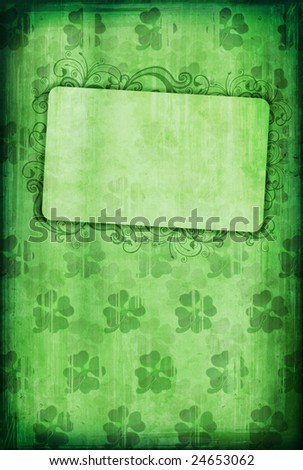 Grunge background with clover and copy-space for St. Patricks Day