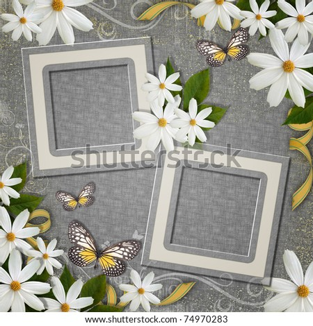 grunge  background with decorative frames and flowers