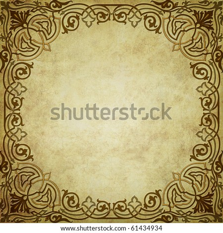 grunge background with decorative ornaments, and with space for text or image