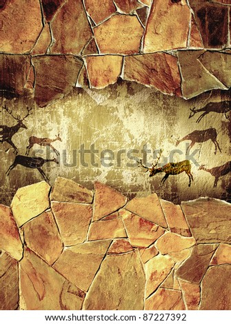 grunge background with drawings ...