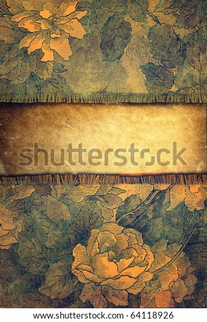 grunge background with floral ornaments