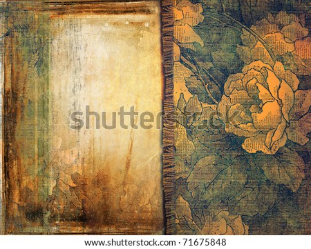 grunge background with floral ornaments - stock photo