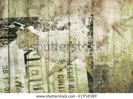 Grunge Background with graffiti and old newspapers