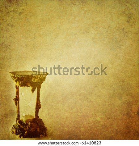 grunge background with hourglass with space for text or image