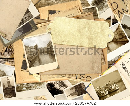 Grunge background with old photos and label