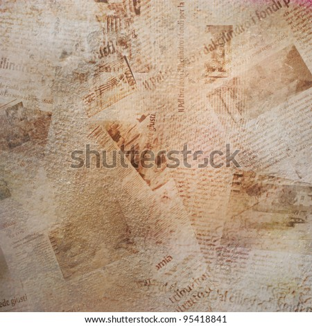 Grunge background with old torn newspaper