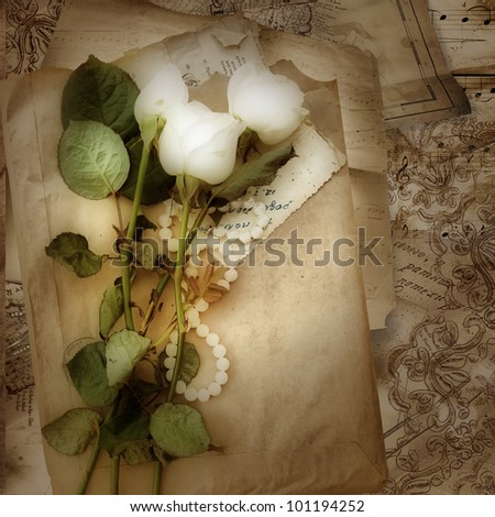 Grunge background with roses and lace