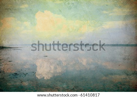 grunge background with sea view