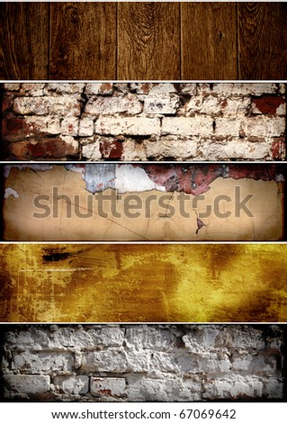 Grunge banners - texture old brick wall, stucco and wood