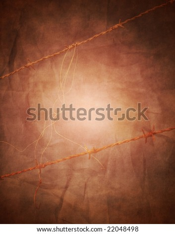 Grunge barbed wire background in brown and sepia tones