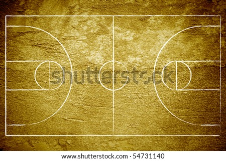 Grunge basketball court with chalk drawn lines.