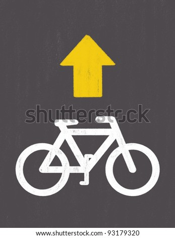 grunge Bicycle Road Sign drawing by pastel on charcoal paper